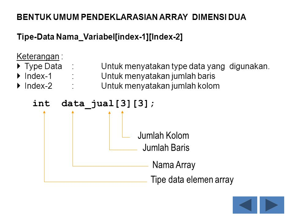 int data_jual[3][3]; Jumlah Kolom Jumlah Baris Nama Array